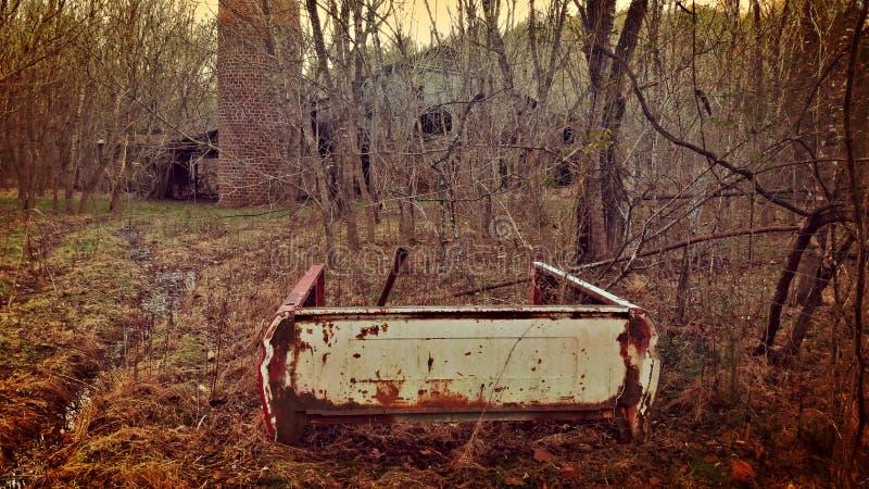 一辆老搬运车的生锈的片断 免版税库存照片