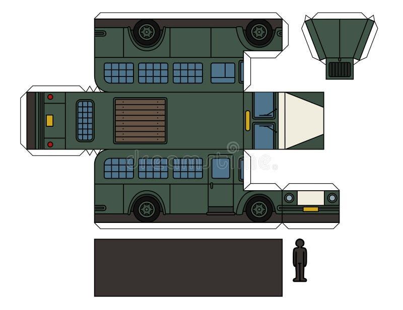 一辆老监狱公共汽车的纸模型 库存例证