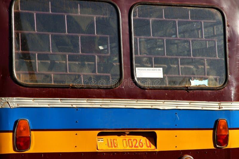 一辆老非洲搬运车的后面的特写镜头 免版税库存照片