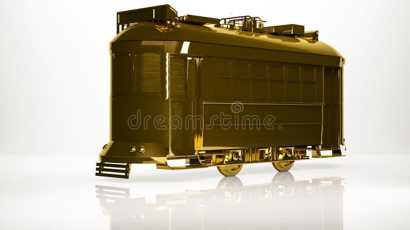 一辆镇电车的金黄3d翻译在演播室里面的 库存例证