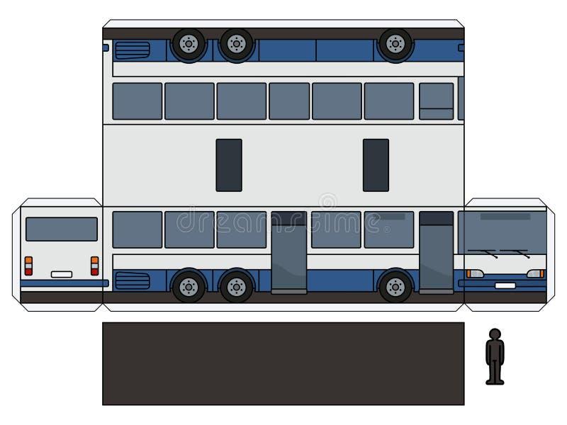 一辆长的公共汽车的纸模型 库存例证