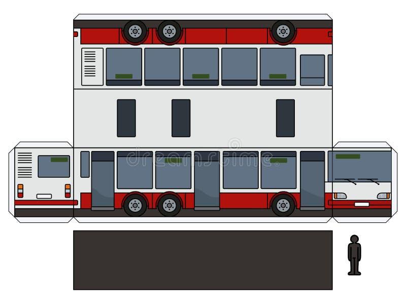 一辆长的城市公共汽车的纸模型 皇族释放例证