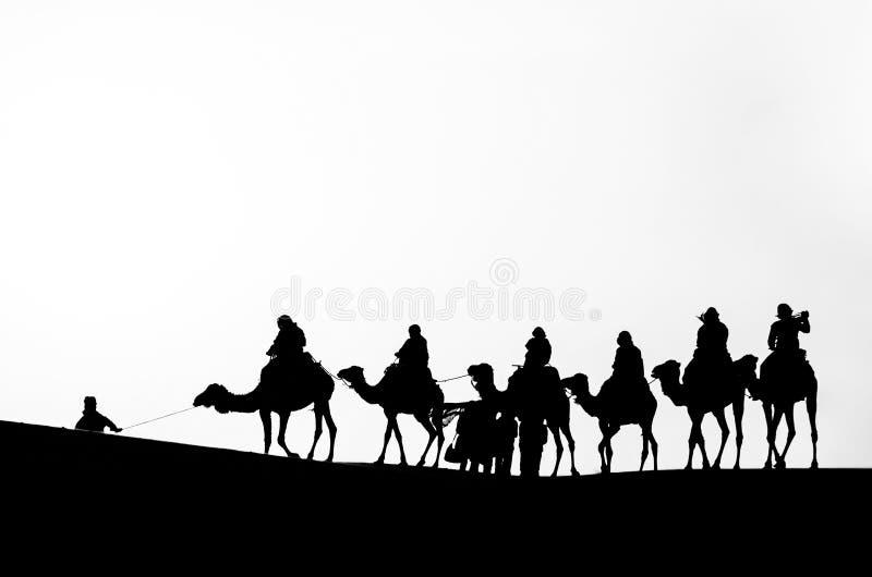 一辆骆驼有蓬卡车的剪影在黑白的撒哈拉大沙漠 库存照片