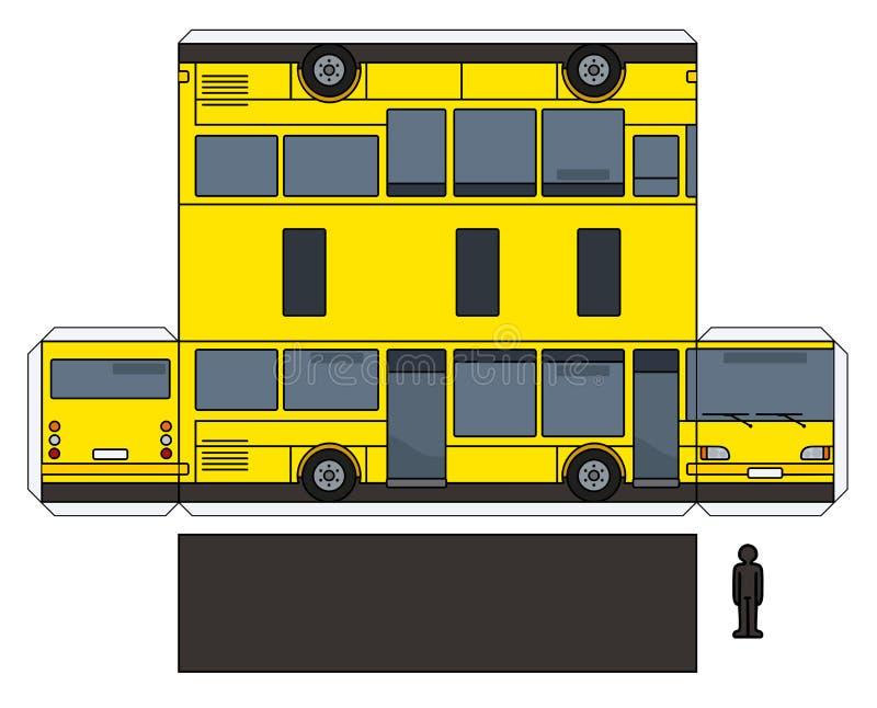 一辆黄色公共汽车的纸模型 皇族释放例证
