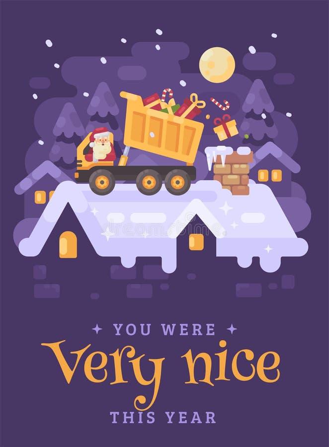 一辆黄色翻斗卡车的圣诞老人在卸载礼物的屋顶入一个非常好孩子的烟囱 圣诞节字符 向量例证