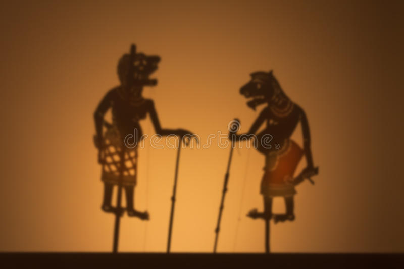 一部传统泰国阴影木偶戏,传统阴影木偶 免版税图库摄影