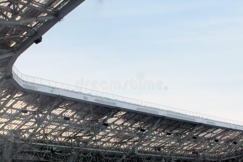 一部分的一个开放体育场的屋顶在喀山 免版税库存图片