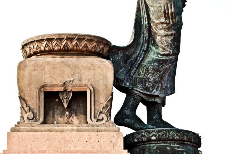 一部分的与在白色背景隔绝的莲花被塑造的基地的菩萨雕象 免版税库存图片