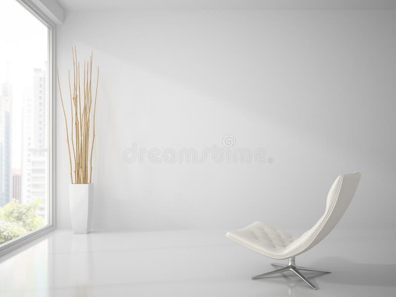 一部分的与白色扶手椅子3D翻译的干净的白色内部 库存例证