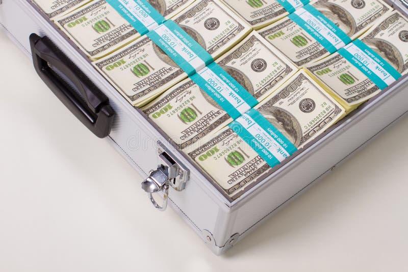 一部分的与美元的金属盒 免版税库存图片