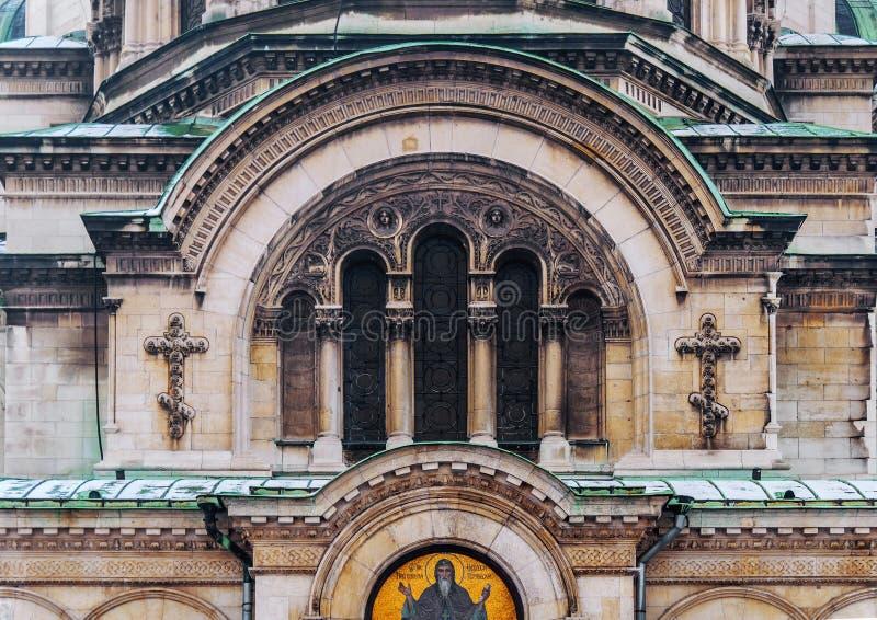 一部分的亚历山大涅夫斯基大教堂在索非亚,保加利亚关闭的首都图片