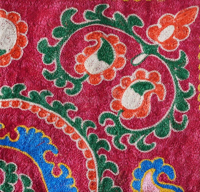 一部分的传统乌兹别克人刺绣样式 库存图片