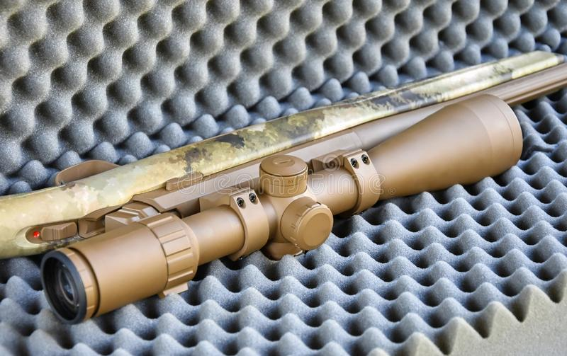 一部分的伪装色的猎枪 免版税库存照片