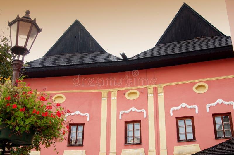 一部分的历史Spisska Sobota镇,当前波普拉德市区大广场  免版税库存图片