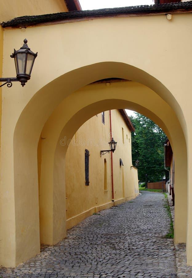 一部分的历史Spisska Sobota镇,当前波普拉德市区大广场  库存照片