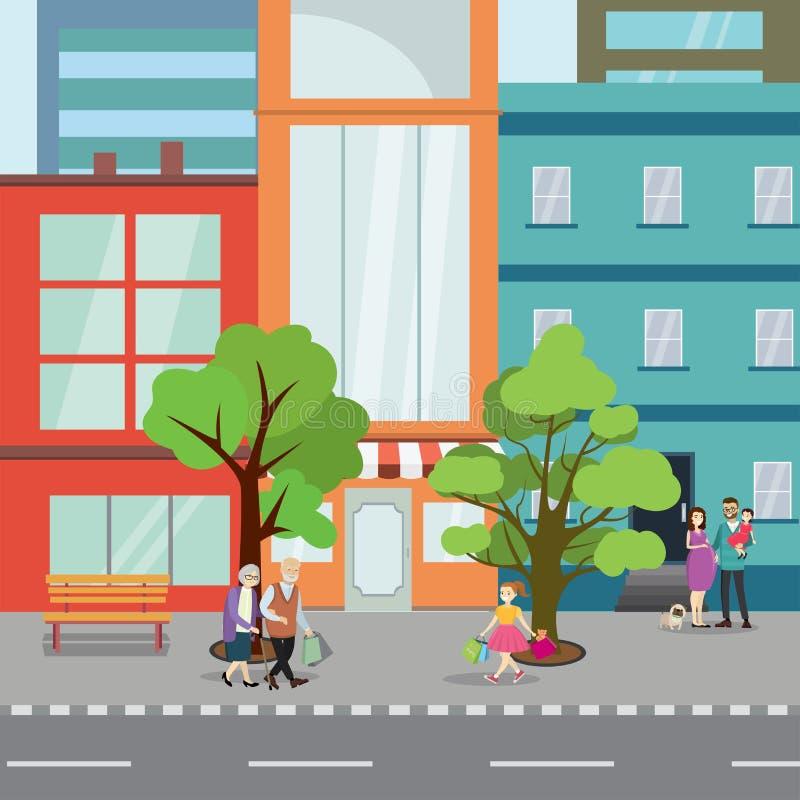 一部分的城市街道 街道的不同的步行者 库存例证