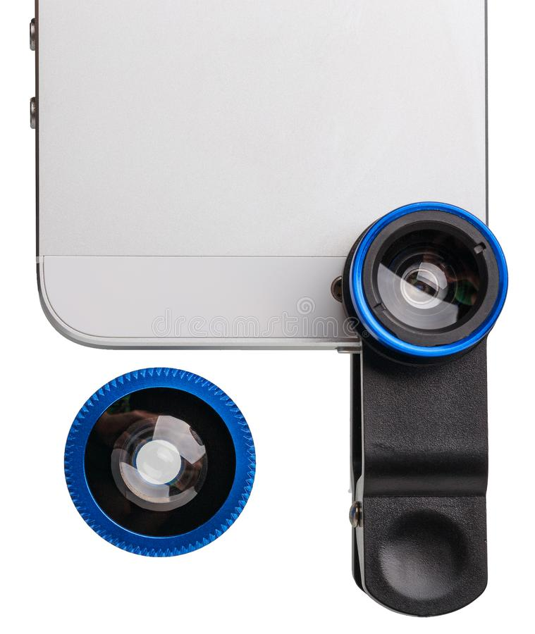 一部分的有夹子在白色隔绝的透镜成套工具的手机 免版税库存照片