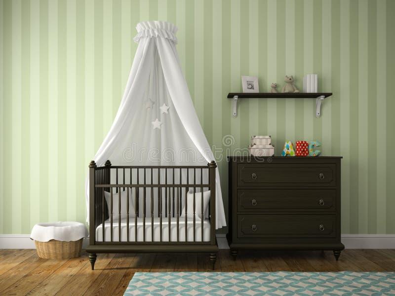 一部分的有摇篮的经典儿童居室 向量例证