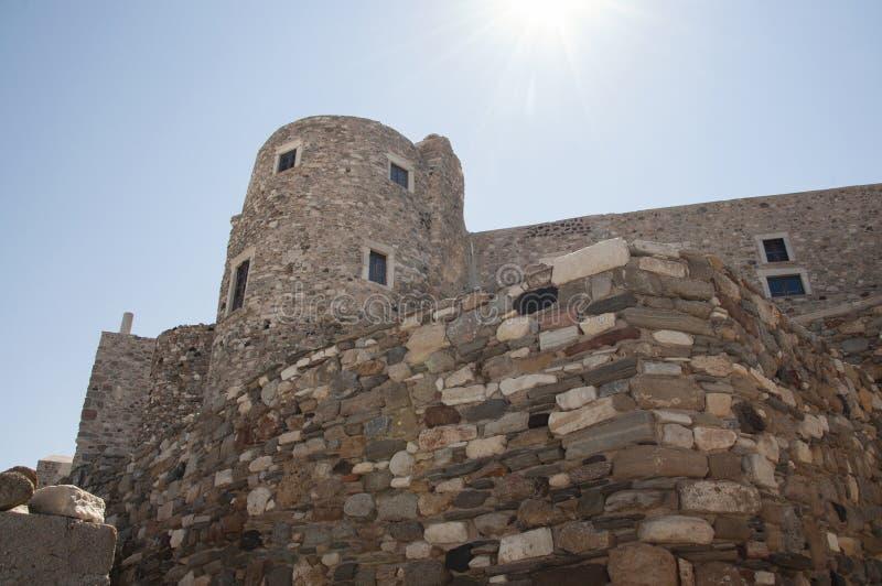 一部分的纳克索斯镇城堡纳克索斯岛的 库存图片