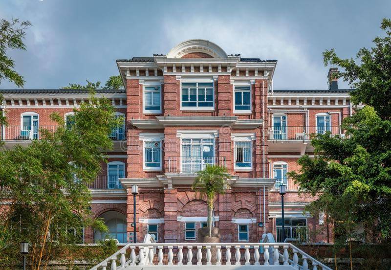 一部分的老校园在香港大学,HKU,英国建筑学样式 免版税库存照片