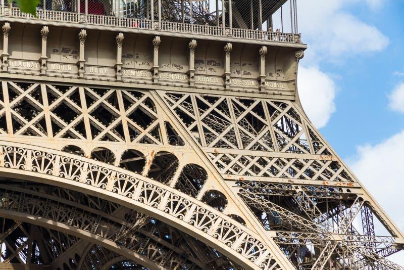 一部分的艾菲尔铁塔 库存图片