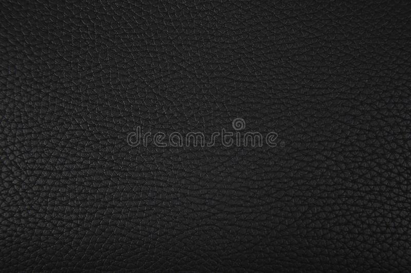一部分的黑皮革纹理特写镜头 库存照片