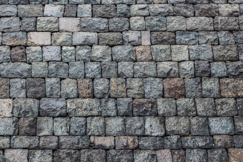 一部分美好的水平的纹理的从冻火山的熔岩的一个老灰色砖墙从Etna火山在西西里岛 免版税库存图片