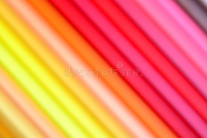 一部分迷离的五颜六色的铅笔 库存照片