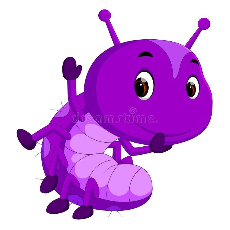 一部紫色毛虫动画片 向量例证