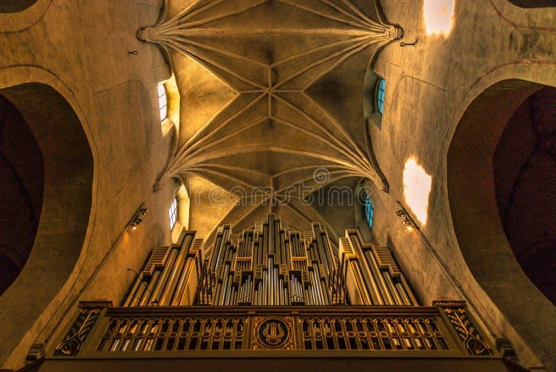 一部美丽的古董高的管风琴 库存照片