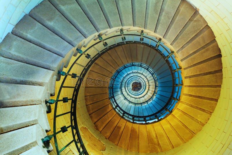 一部螺旋形楼梯的上部视图在灯塔或塔的 免版税图库摄影