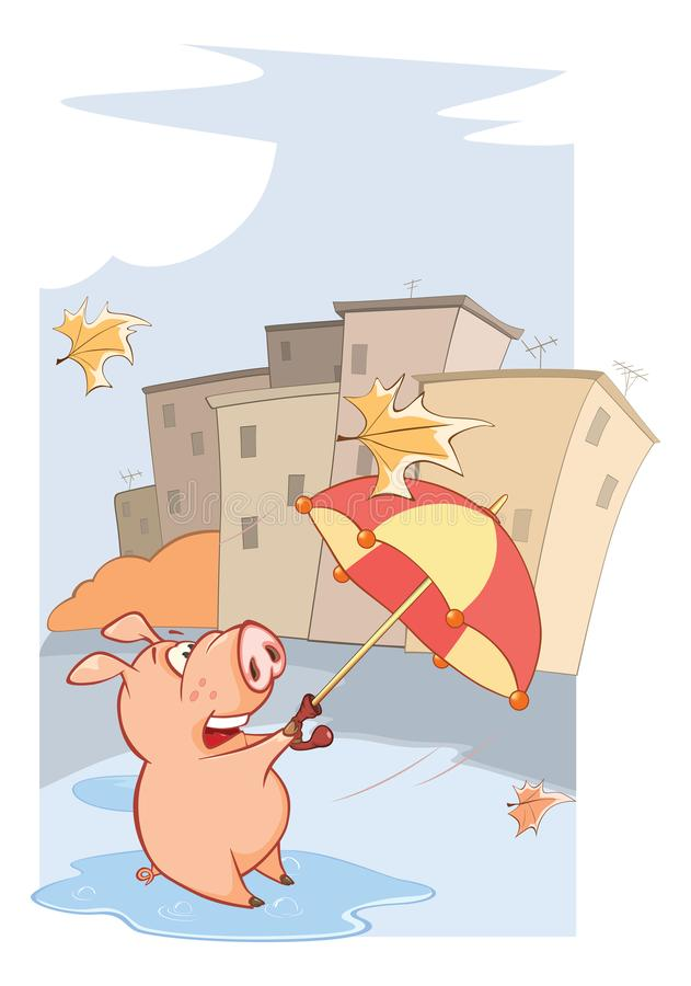 一部逗人喜爱的猪和有风秋天天动画片 库存例证