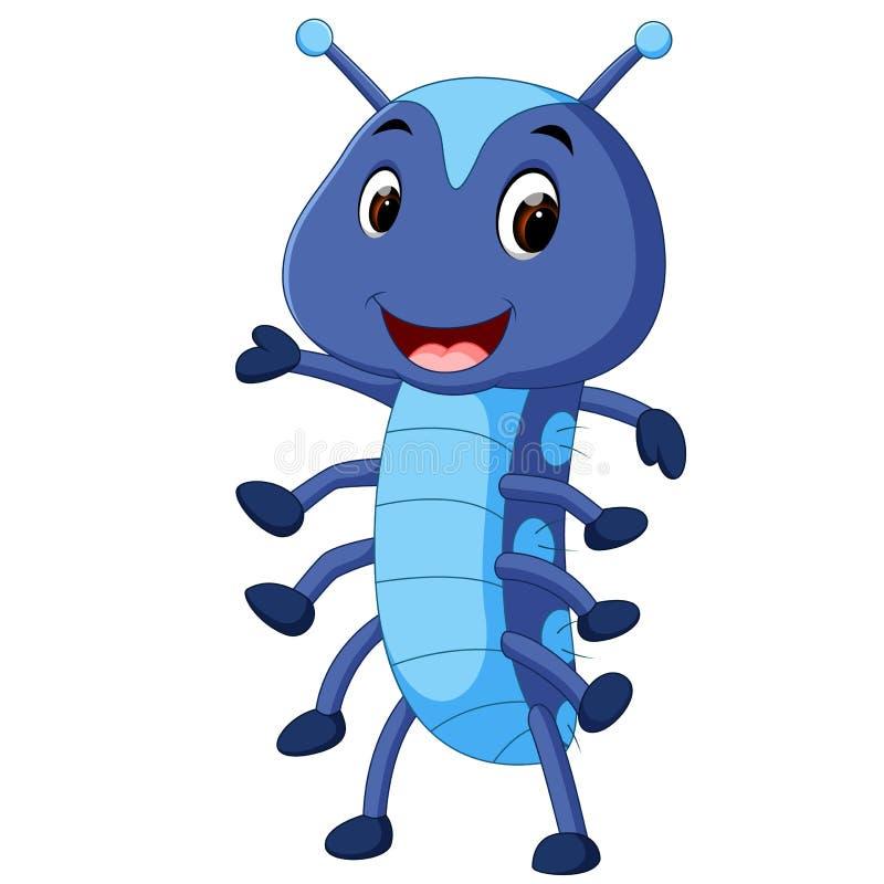 一部逗人喜爱的蓝色毛虫动画片 库存例证