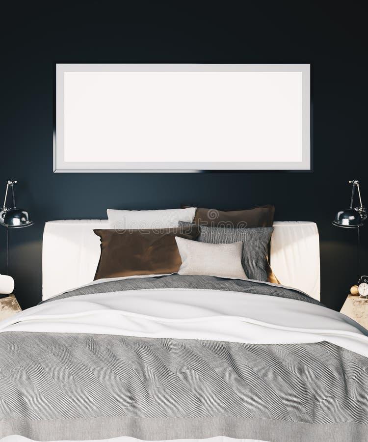 一间现代豪华卧室的内部有黑墙壁、床和一张被构筑的水平的海报的 皇族释放例证