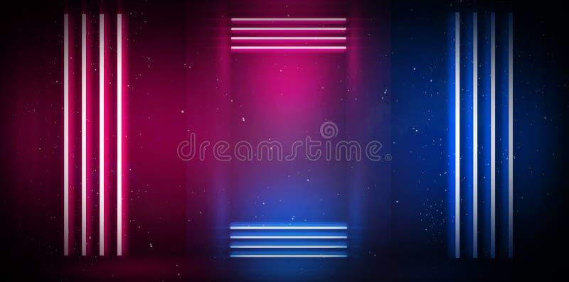 一间空的屋子的背景在与烟和霓虹灯的晚上 抽象背景黑暗 一个空的展示场面的背景 库存图片