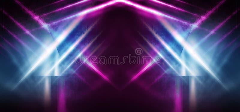 一间空的屋子的背景在与烟和霓虹灯的晚上 抽象背景黑暗 皇族释放例证