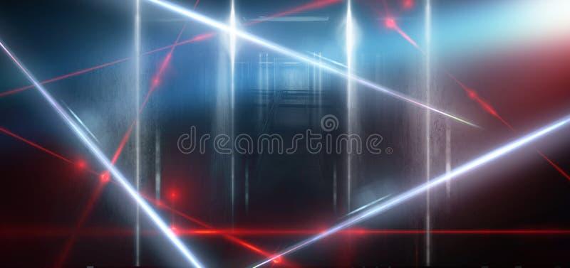 一间空的黑暗黑屋子的背景 空的砖墙,光,烟,焕发,光芒 库存例证
