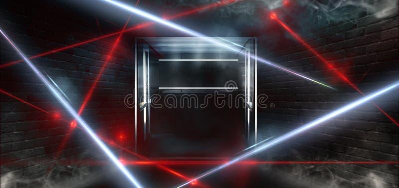 一间空的黑暗黑屋子的背景 空的砖墙,光,烟,焕发,光芒 向量例证