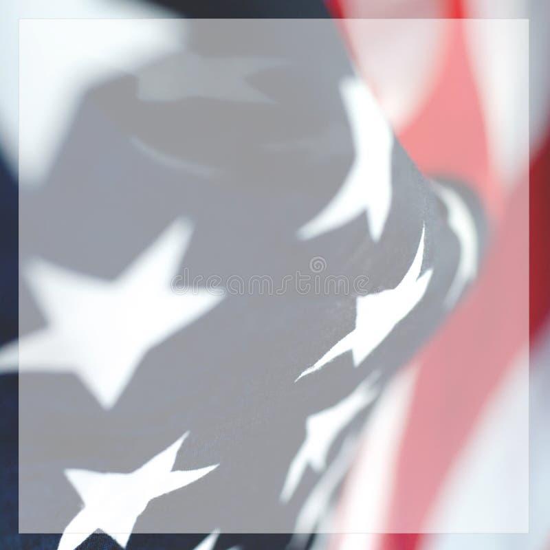 一面美国国旗的抽象方形的照片 皇族释放例证