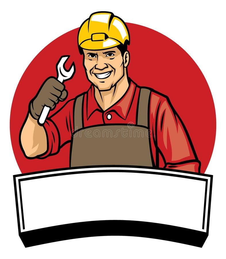 戴一顶安全帽的工作者和拿着板钳 向量例证