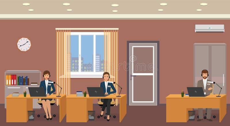 一项用户支持服务的雇员在工作地点的 与热线服务电话操作员的办公室内部 皇族释放例证