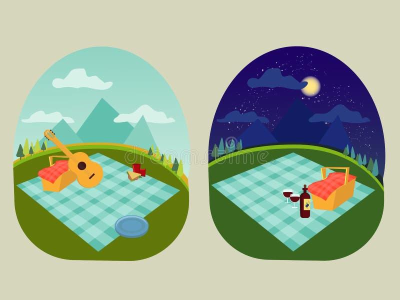一顿家庭和浪漫野餐的在公园,延长地方毯子,食物,暑假,在山的野餐篮子, 向量例证