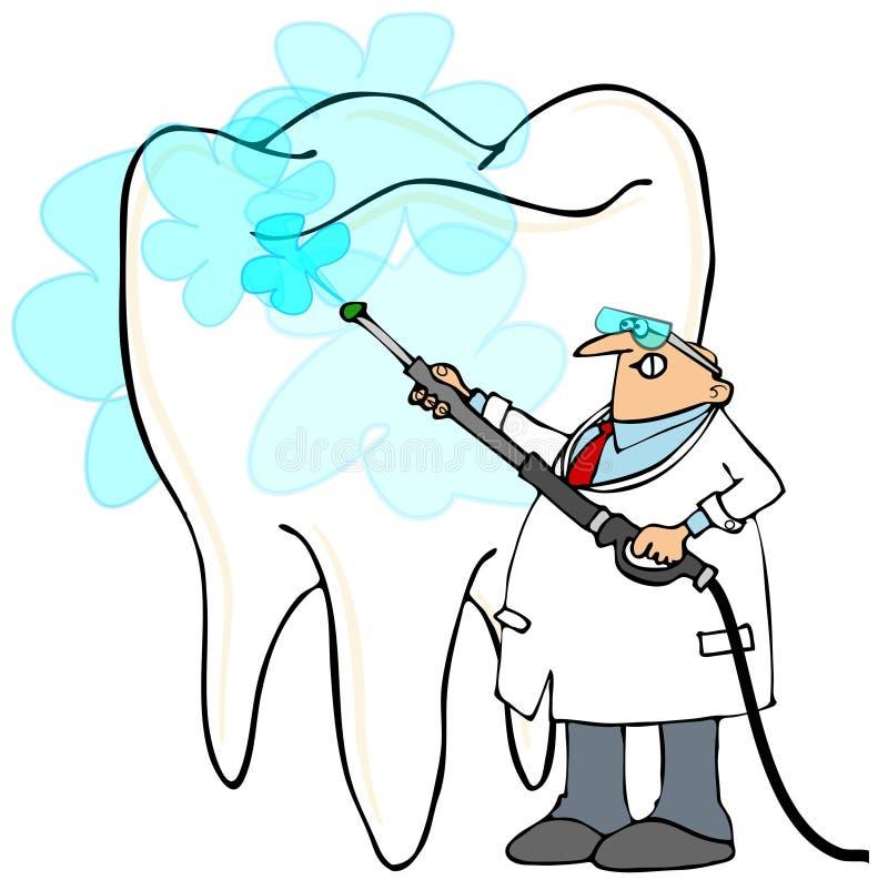 洗一颗巨型牙的牙医压力 皇族释放例证