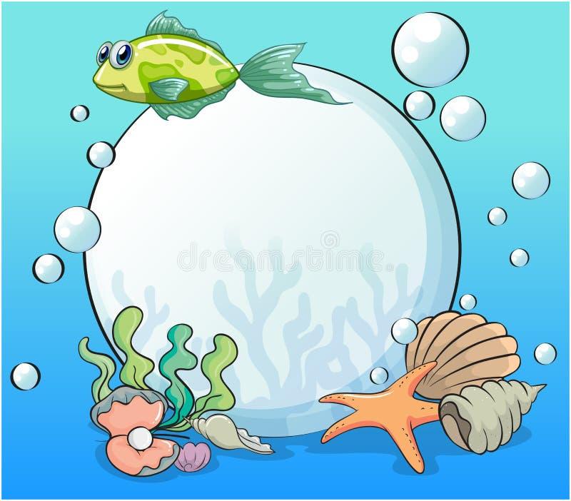 一颗珍珠在海生物包围的海洋 库存例证
