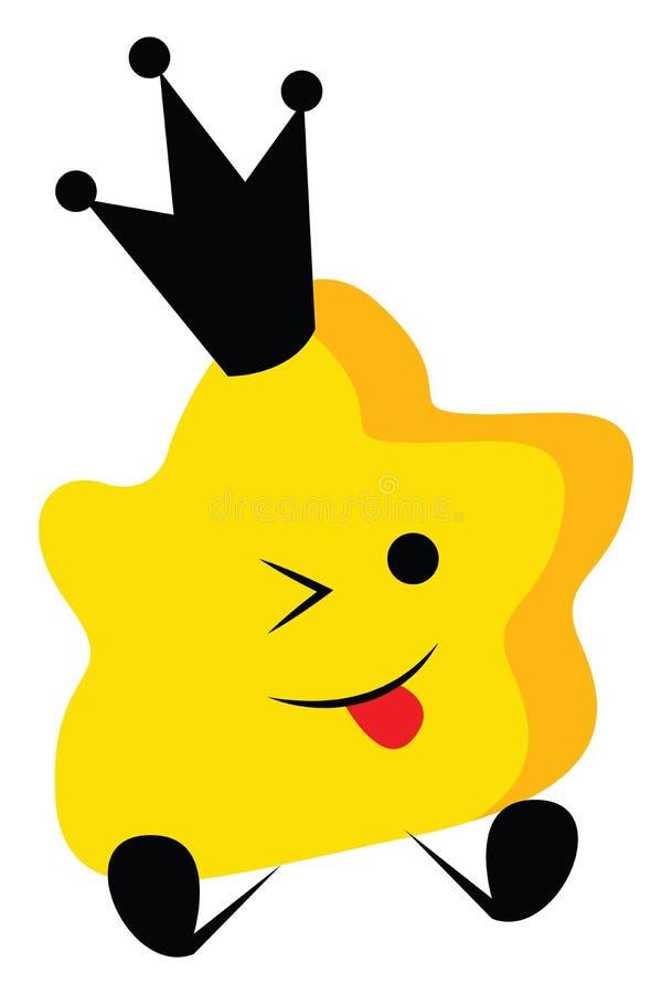 一颗黄色可爱的女王小星,舌头伸出矢量或彩色插图 向量例证
