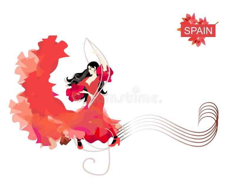 一首飞行的红色礼服跳舞佛拉明柯舞曲的美丽的西班牙女孩与在活页乐谱线的高音谱号 向量例证