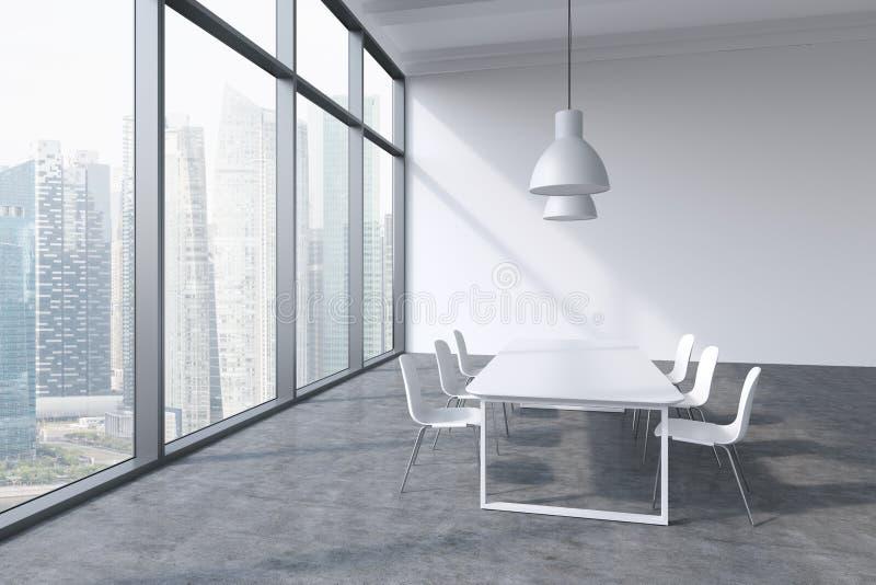 一间会议室在一个现代全景办公室有新加坡市视图 白色桌、白色椅子和两个白色云幂灯 3 库存例证