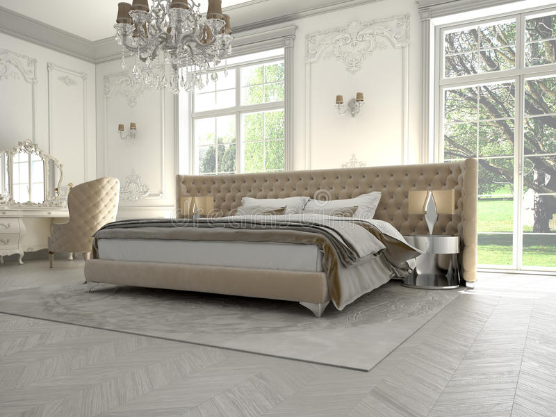 一间经典样式卧室的内部豪华的 免版税库存图片