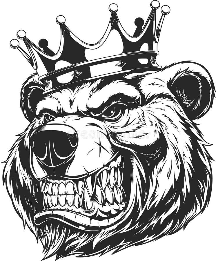 一头凶猛熊的头 向量例证
