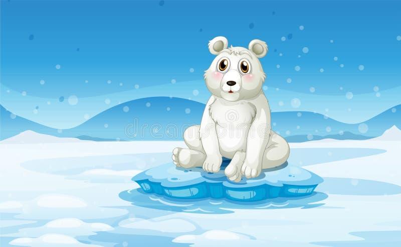 一头北极熊在一个多雪的区域 向量例证
